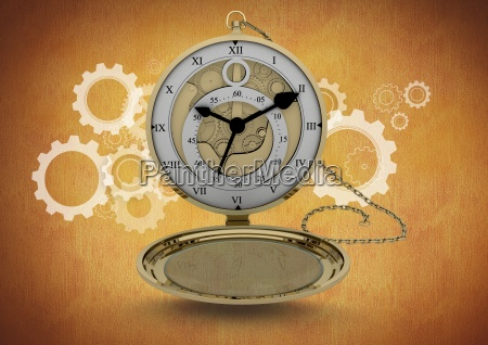 pocket watch clock against brown background
