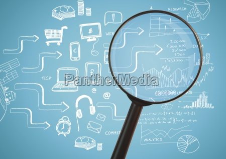 magnifying glass against blue background with