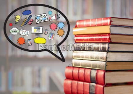 pile of books with speech bubble