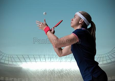 table tennis player against blue sky