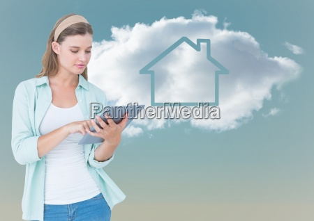 woman with tablet against cloud with