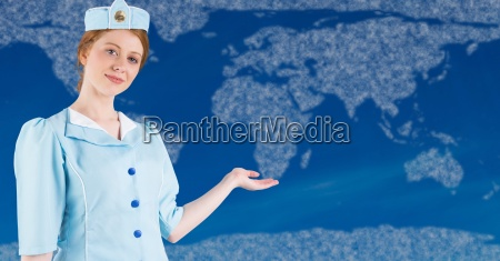 stewardess with hand out against map
