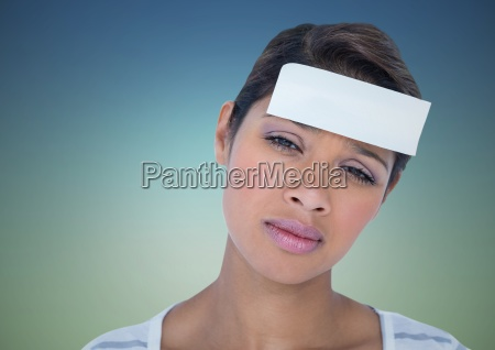 woman with blank card on head