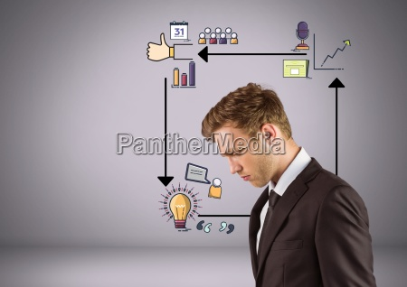 businessman looking down with arrows and