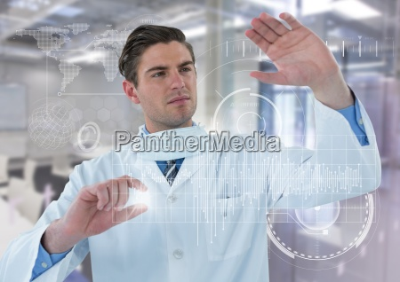man in lab coat behind white
