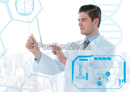 man in lab coat holding up
