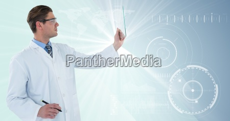 man in lab coat and goggles