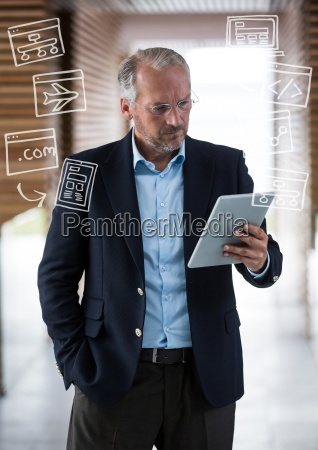 business man with tablet and white