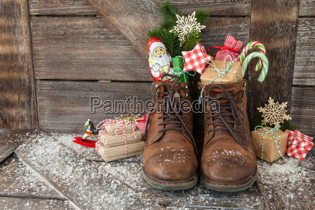 boots with gifts and sweets