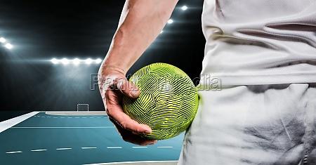 close up of handball player holding