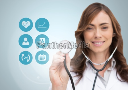 female doctor touching stethoscope on digitally