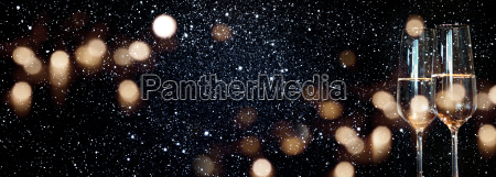 champagne with starry sky and golden