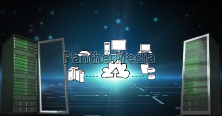 conceptual image showing servers and cloud