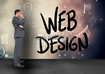 confused businessman looking at web design