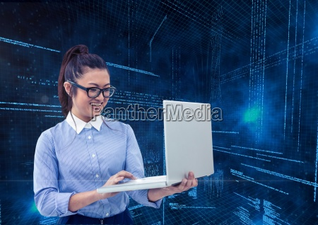 businesswoman using laptop with binary codes