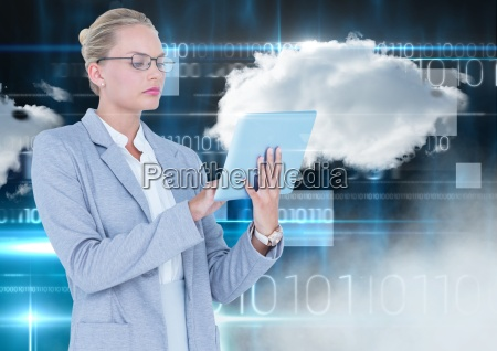 businesswoman using digital tablet with cloud
