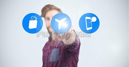 man touching on airplane mode icon