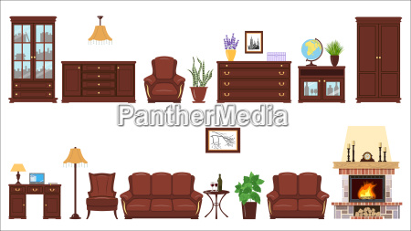 big realistic set of home furniture