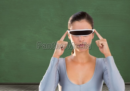 digital composite image of woman using