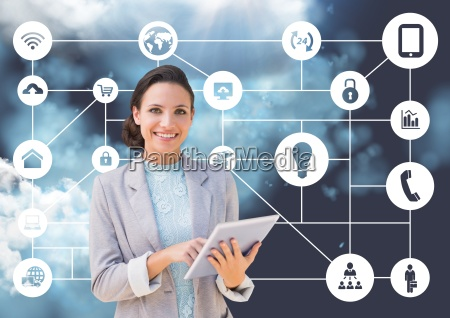 portrait of businesswoman holding digital tablet