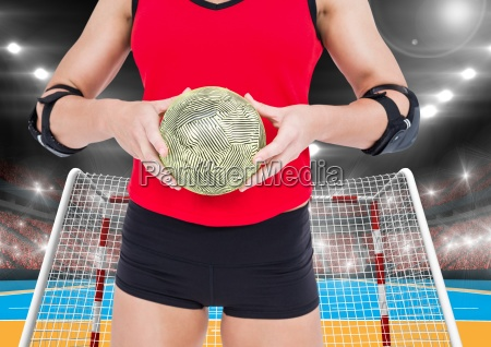 mid section of a female handball