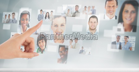 man touching profile pictures of business