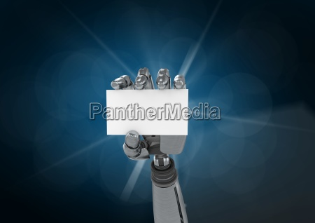 robot hand holding placard against blue