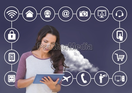 woman using digital tablet with connecting