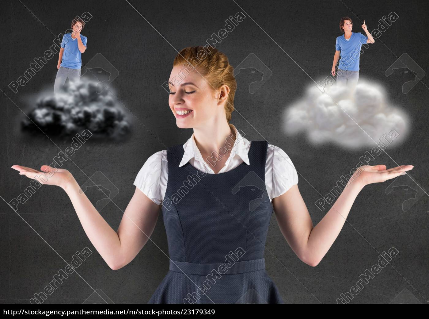 woman, standing, between, the, good, and - 23179349