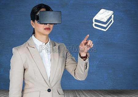 businesswoman using virtual headset pretending to