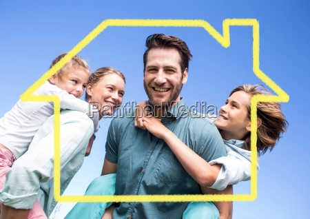 family with home outline against blue