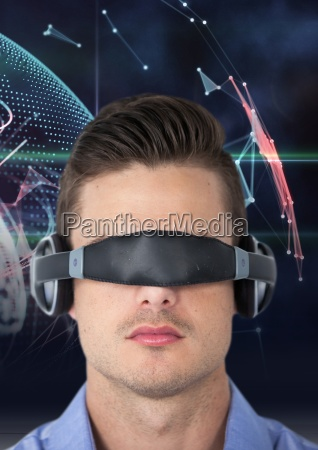 man using virtual reality glasses against