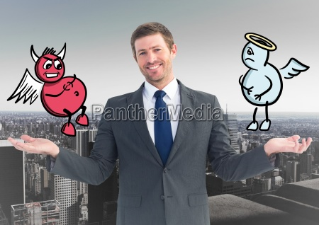 smiling businessman between good and bad