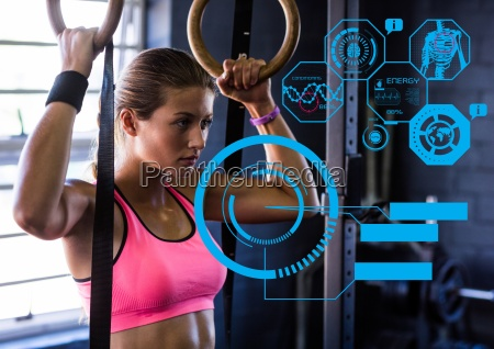 fit woman exercising in gym with