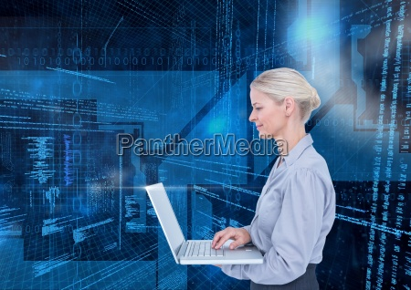 businesswoman using laptop against binary codes