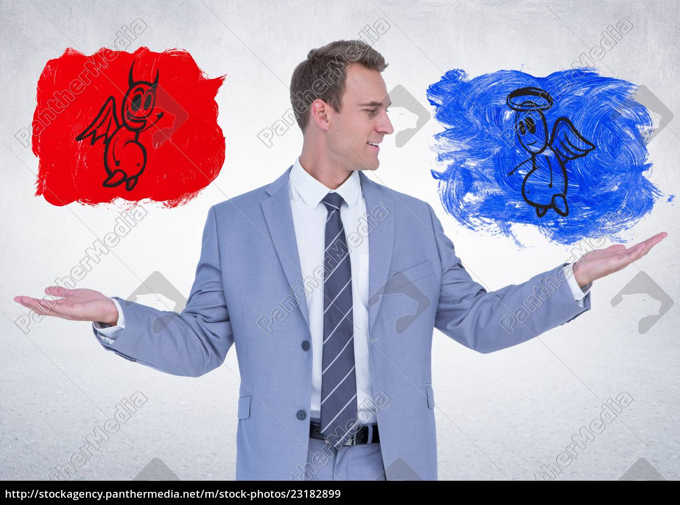 businessman, standing, between, the, good, and - 23182899