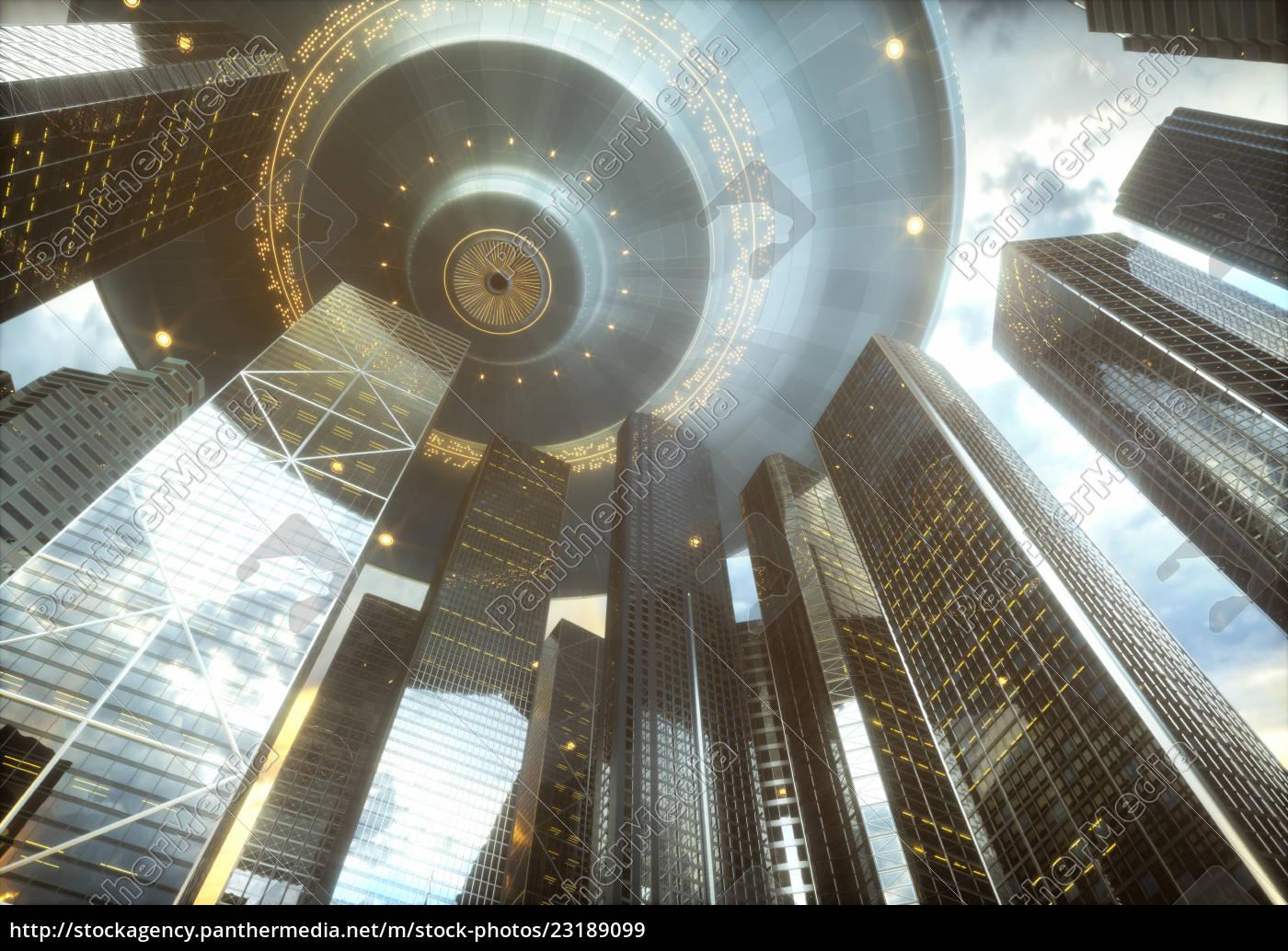 ufo, city, skyscrapers, invasion - 23189099