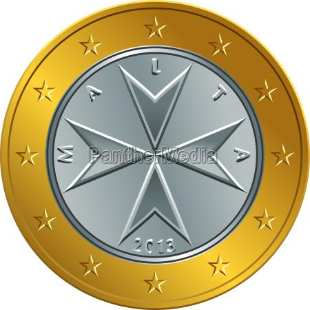 vector maltese money gold euro coin