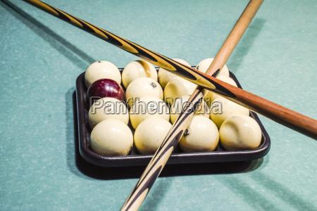 billiards billiard table balls and cue