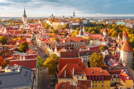 aerial panorama of old town tallinn