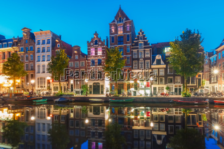 morning city view of amsterdam canal