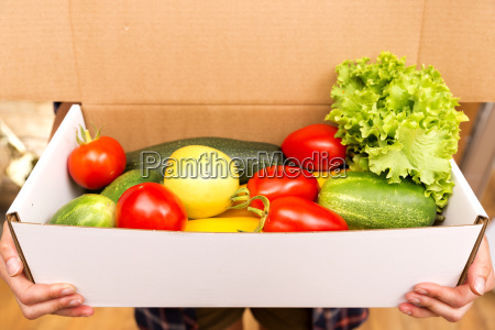 box of fresh organic vegetables and