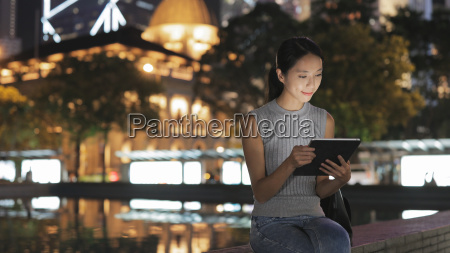 woman use of tablet computer in