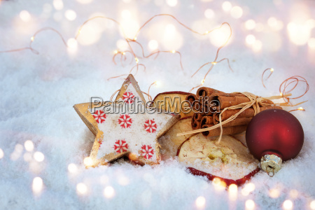 christmas decoration in snow with ingredients