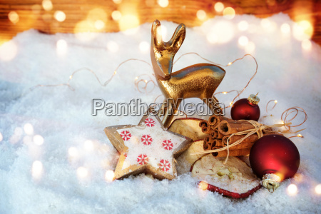 still life in snow with christmas
