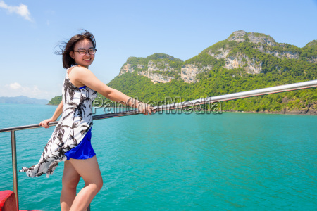 asian woman on the boat