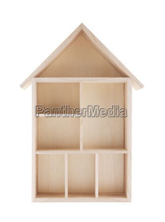 wooden house shaped shelf isolated on