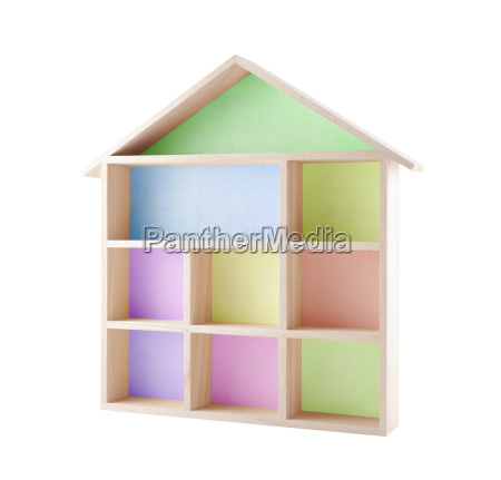 colorful wooden house shaped shelf isolated