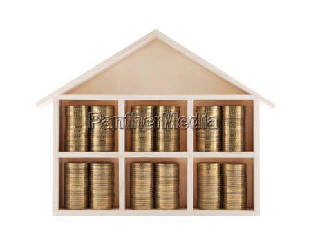 wooden house with coins isolated on