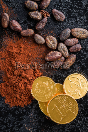 dark cocoa powder cocoa beans and